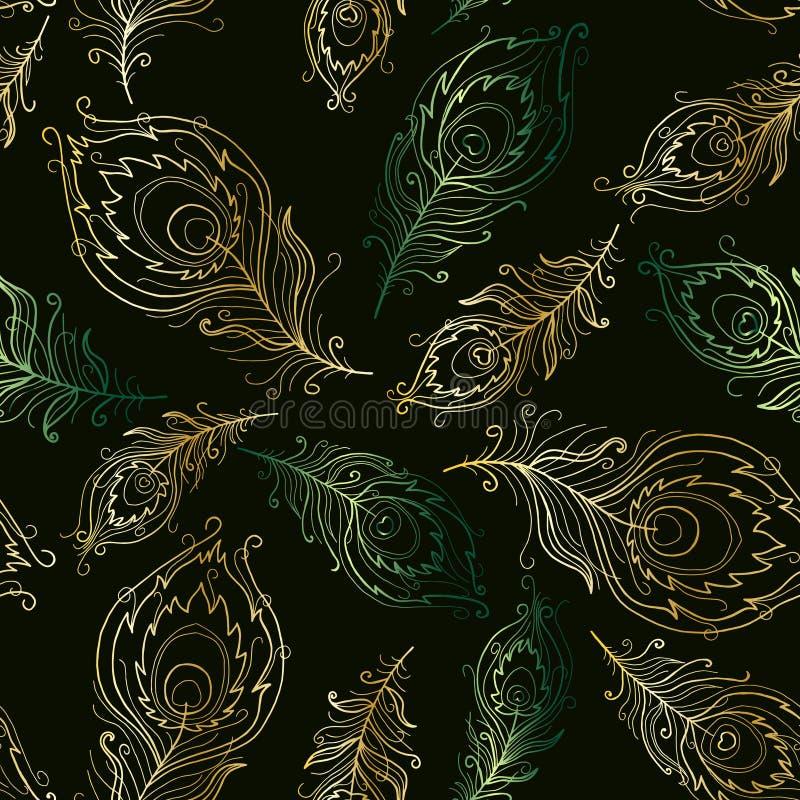 Mooi naadloos patroon met kleurrijke pauwveren royalty-vrije illustratie