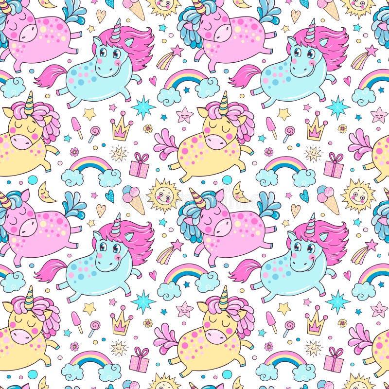 Mooi naadloos patroon met leuke eenhoorns, regenboog, wolken vector illustratie