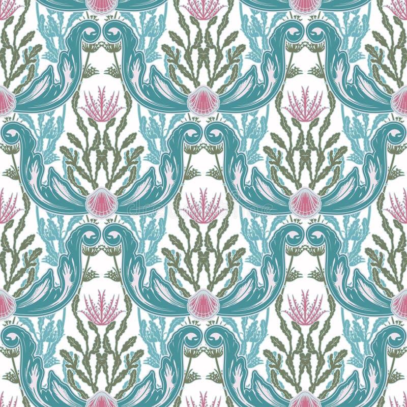 Mooi naadloos patroon met overzeese installaties Zeevaartstijlpatroon Vectortextuur voor behang, textiel, stof stock illustratie