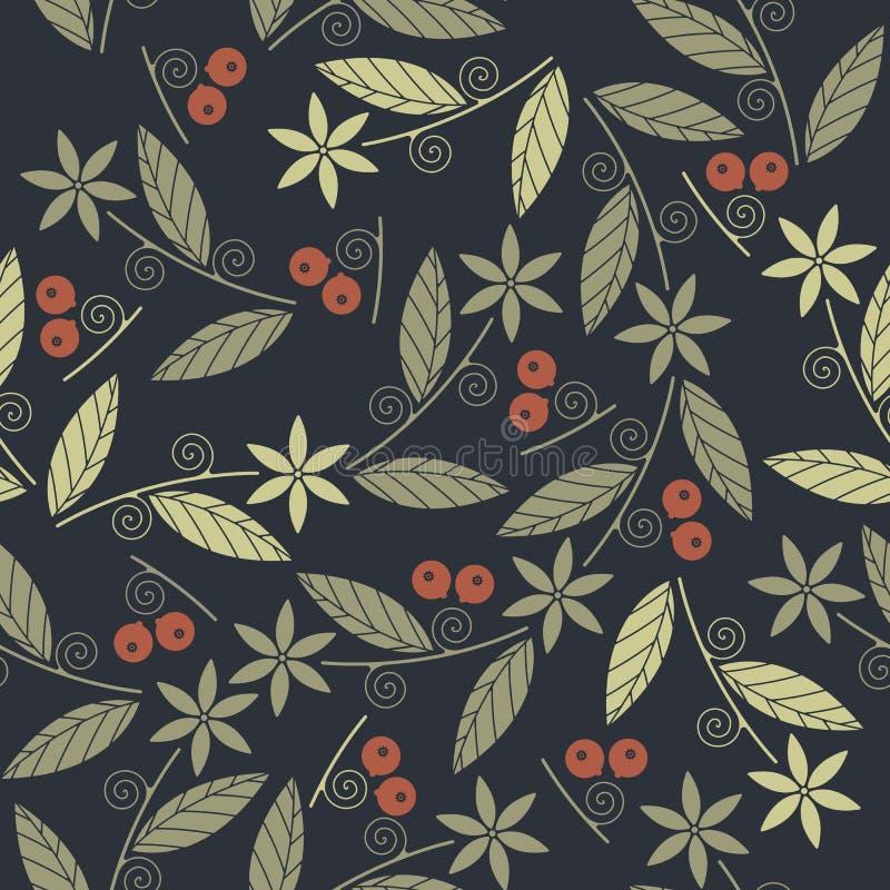 Mooi naadloos patroon met rode bessen, groene bloemen en l royalty-vrije illustratie