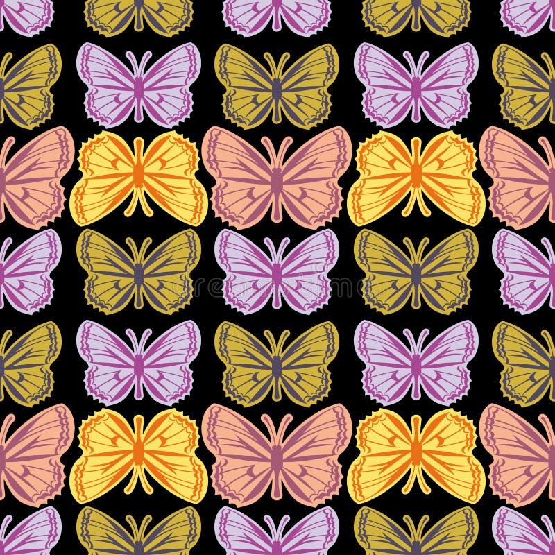 Mooi naadloos patroon met vlinders stock illustratie