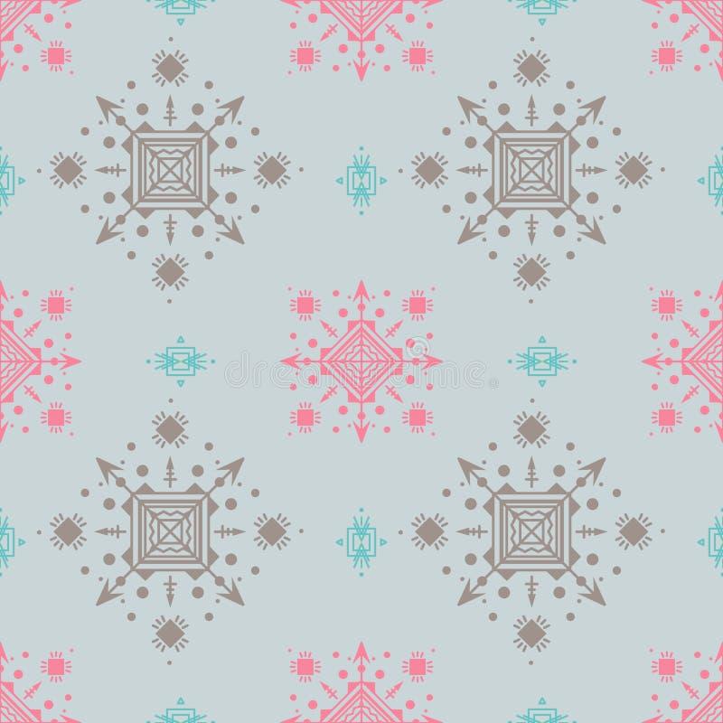Mooi naadloos patroon in pastelkleuren in stammenstijl royalty-vrije illustratie