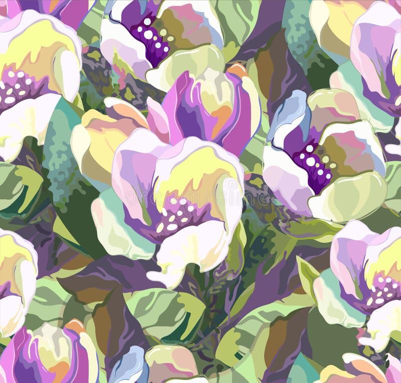Mooi naadloos patroon van gekleurde bloemen stock illustratie