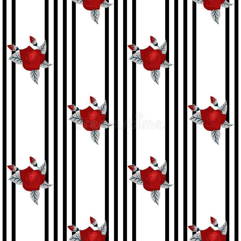 Mooi naadloos patroon van rode rozen op gestreepte zwart-witte achtergrond de kaart van de ontwerpgroet en uitnodiging van royalty-vrije illustratie