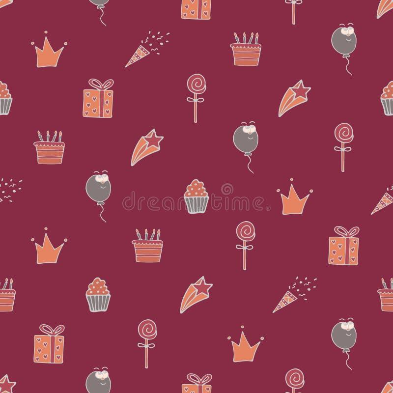 Mooi naadloos patroon voor een verjaardag met witte tekeningen stock illustratie