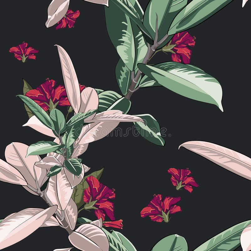 Mooi naadloos vector bloemenpatroon, de achtergrond van de de lentezomer met tropische bloemen, ficus, wildernisblad, hibiscus en royalty-vrije illustratie