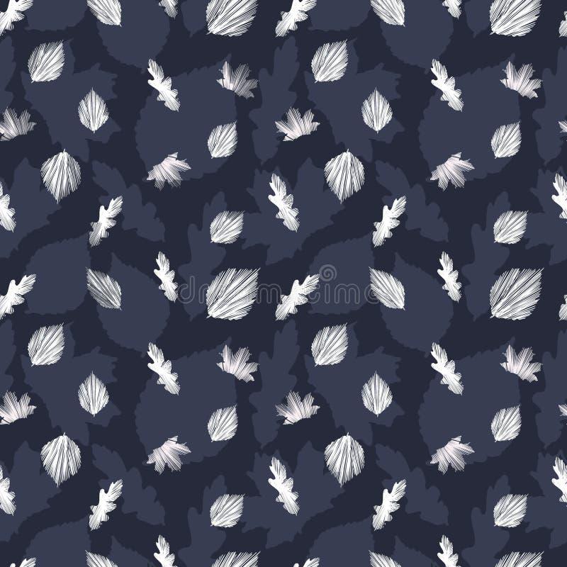 Mooi naadloos vector bloemenpatroon op blauwe en witte backg vector illustratie