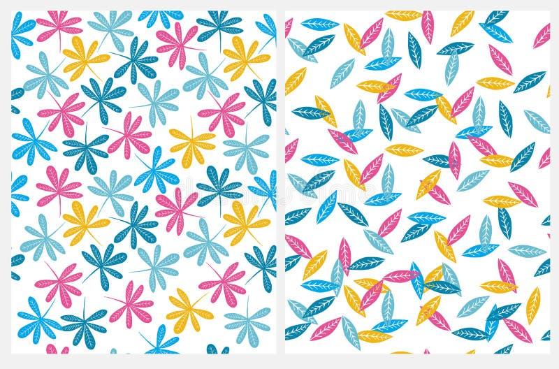Mooi Naadloos Vectorpatroon met Veelkleurige Abstracte Tropische die Bladeren op een Witte Achtergrond wordt geïsoleerd stock illustratie