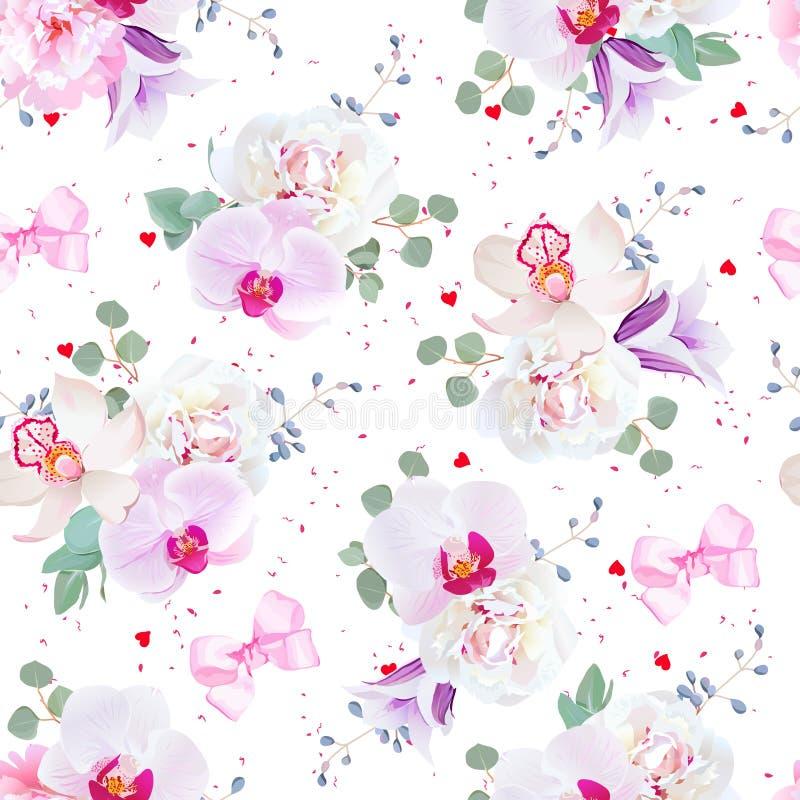 Mooi naadloos vectorpatroon in purpere, roze en witte tonen royalty-vrije illustratie