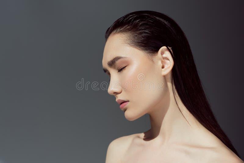 mooi naakt Aziatisch meisje stock afbeelding