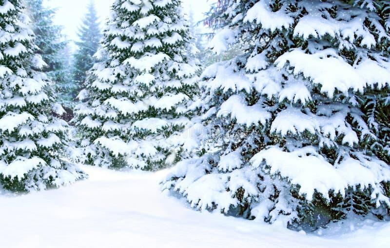Mooi naaldbos in sneeuw Prentbriefkaar voor Nieuw jaar Mooie vectorillustratie stock fotografie