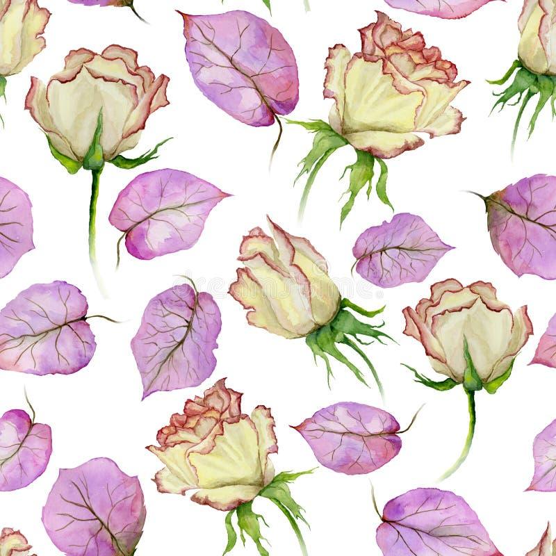 Mooi nam bloemen en bladeren met aders op witte achtergrond toe Naadloos BloemenPatroon Het Schilderen van de waterverf vector illustratie
