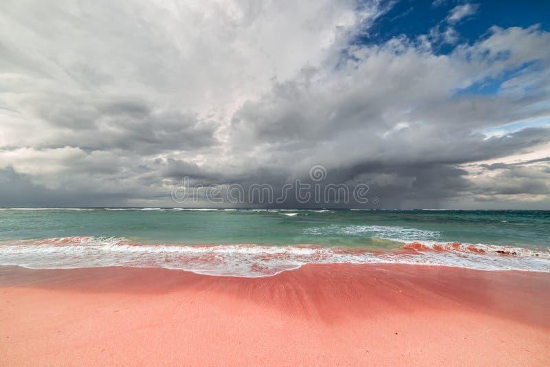Mooi natuurlijk Roze zandstrand in Padar-Eiland, Komodo Flores, Indonesië stock afbeelding