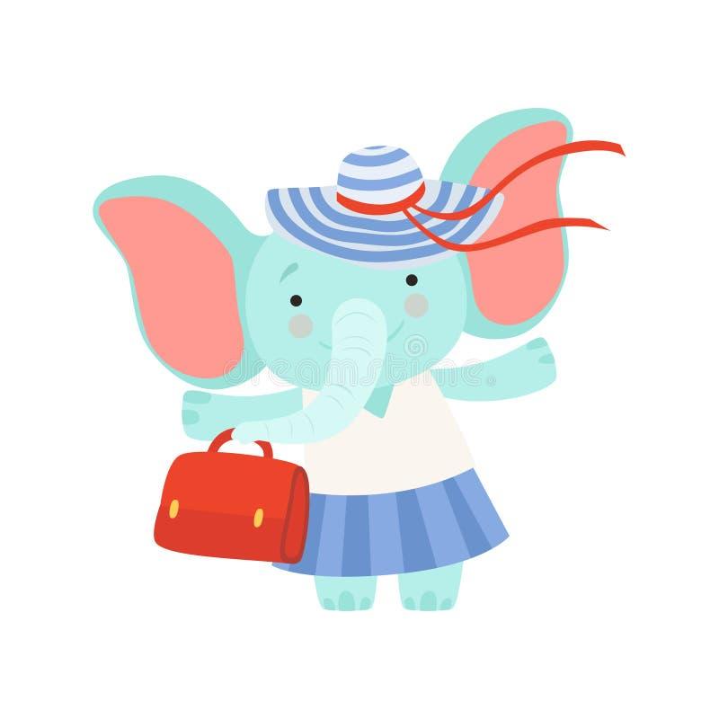 Mooi olifantsmeisje die zich met zak, leuk dierlijk beeldverhaalkarakter bevinden die op de vectorillustratie van de de zomervaka vector illustratie