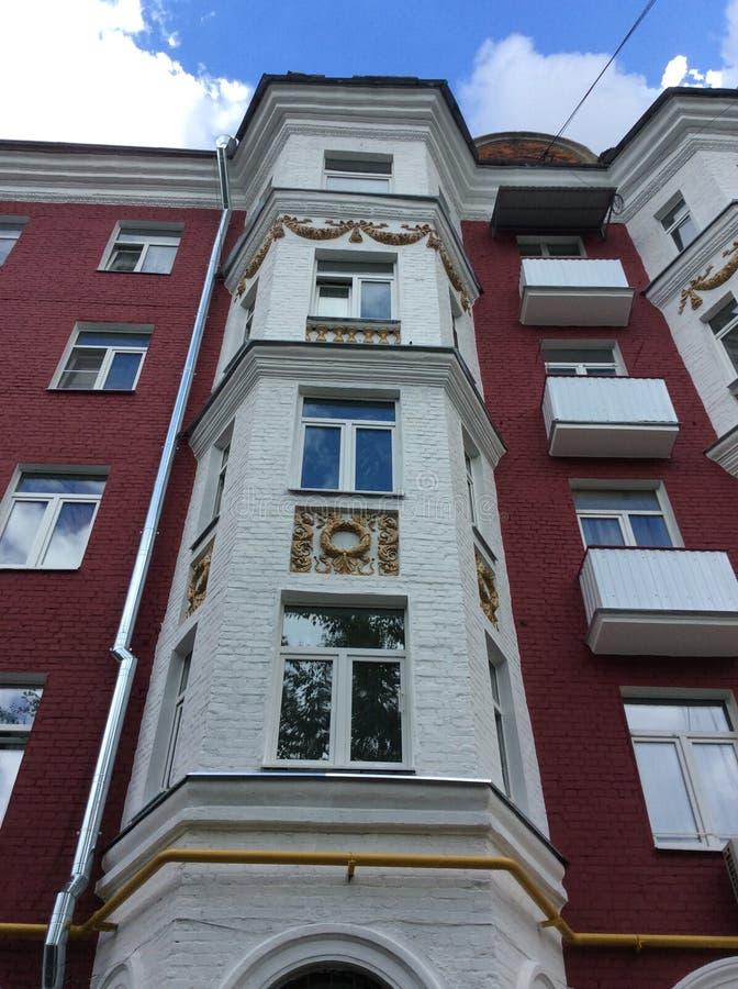 Mooi oud het leven huis in Moskou, Rusland royalty-vrije stock foto