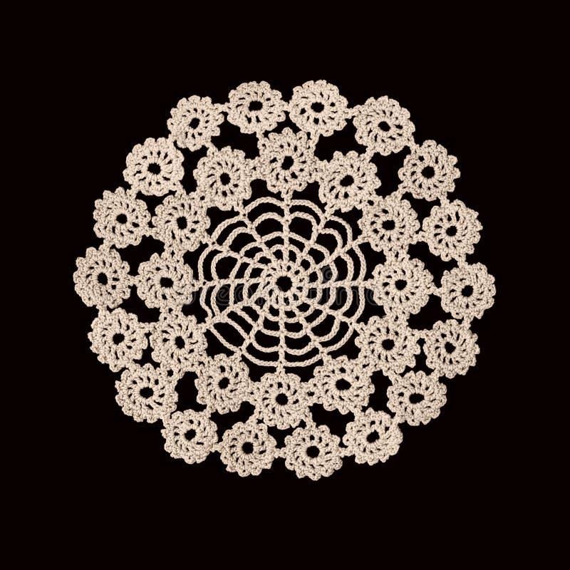 Mooi oud servetborduurwerk van witte draad met de hand gemaakt op donkere achtergrond royalty-vrije stock afbeelding