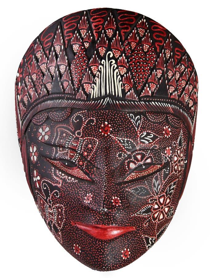 Mooi overladen houten masker dat op wit wordt geïsoleerdl royalty-vrije stock fotografie