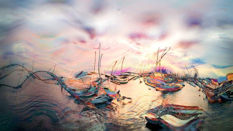 Mooi overzees landschap, jachthaven met jacht en zonsondergang vector illustratie