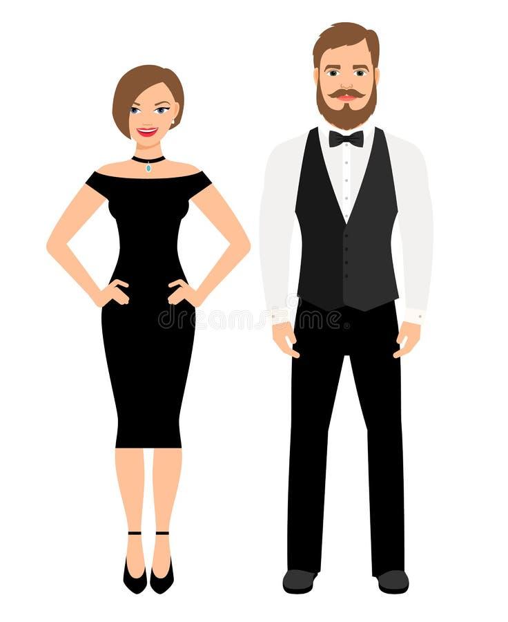 Mooi paar in officiële stijluitrusting royalty-vrije illustratie