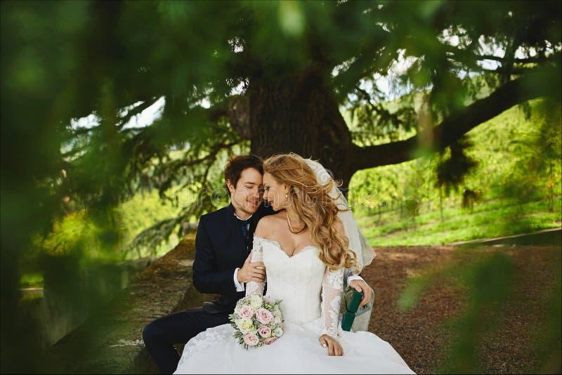 Mooi paar van enkel gehuwde, jonge blondevrouw in de huwelijkskleding en de knappe modieuze mens in modieuze smoking royalty-vrije stock foto