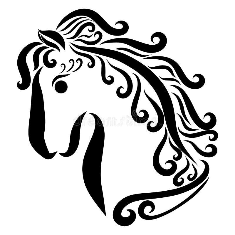 Mooi paard met buigende manen, profiel, zwarte krullen stock illustratie