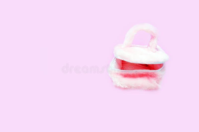 Mooi Pale Pink Fur Woman Bag in Gekleurde Pastelkleur, Conceptenvlakte De Lichte Geïsoleerde Handtas van maniertoebehoren, Exempl stock afbeeldingen