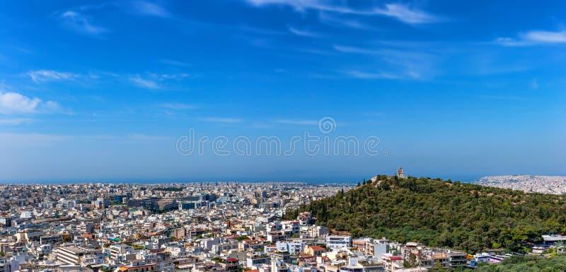 Mooi panorama van Athene in Griekenland royalty-vrije stock foto