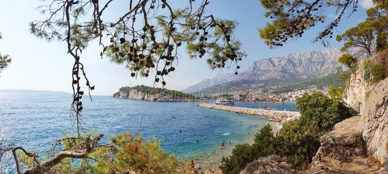 Mooi panorama van de stad van Makarska in Kroatië royalty-vrije stock fotografie