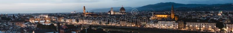Mooi panorama van Florence van Piazzale MichelangeloFlorence in Toscanië, Italië, Europa stock fotografie