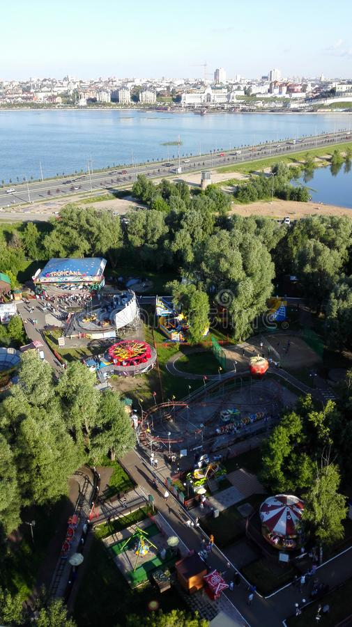 Mooi panorama van het pretpark in Kazan stock afbeelding