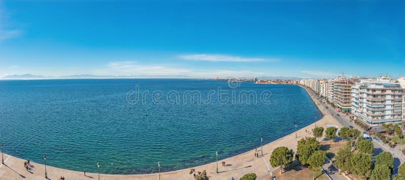 Mooi panorama van stad Thessaloniki in Griekenland stock foto