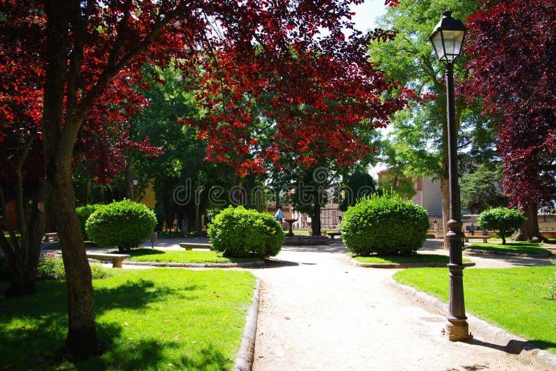 Mooi park in Santillana del Mar, Cantabrië, Spanje royalty-vrije stock foto
