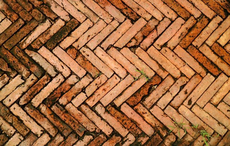 Mooi Patroon van de Weg van de Terracottabaksteen in Oude Stad van Nan, Noordelijke regio, Thailand stock foto's
