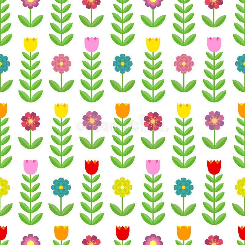 Mooi patroon van tulpen en bloemen royalty-vrije illustratie