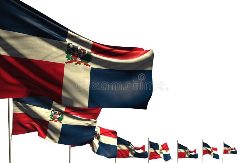 Mooi plaatsten vele vlaggen van de Dominicaanse Republiek geïsoleerde diagonaal op wit met ruimte voor inhoud - om het even welk vector illustratie