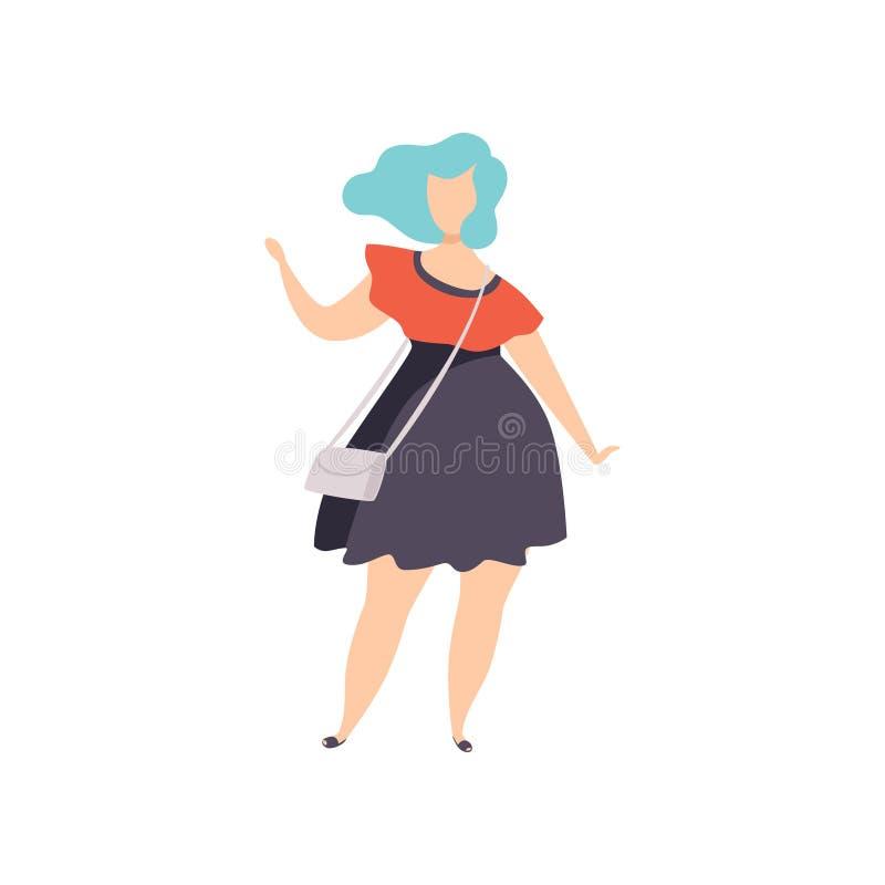 Mooi plus de vrouw van de groottemanier met blauw geverft haar, curvy, te zwaar meisje, lichaams positieve vectorillustratie op a vector illustratie