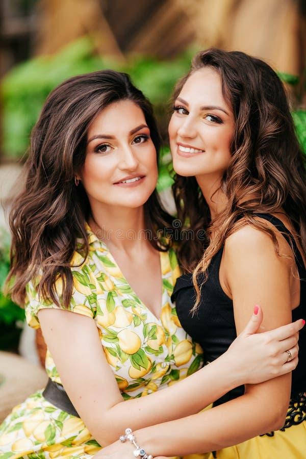 Mooi portret van twee gelukkige zusters i die heldere kleren met citroenen dragen stock foto