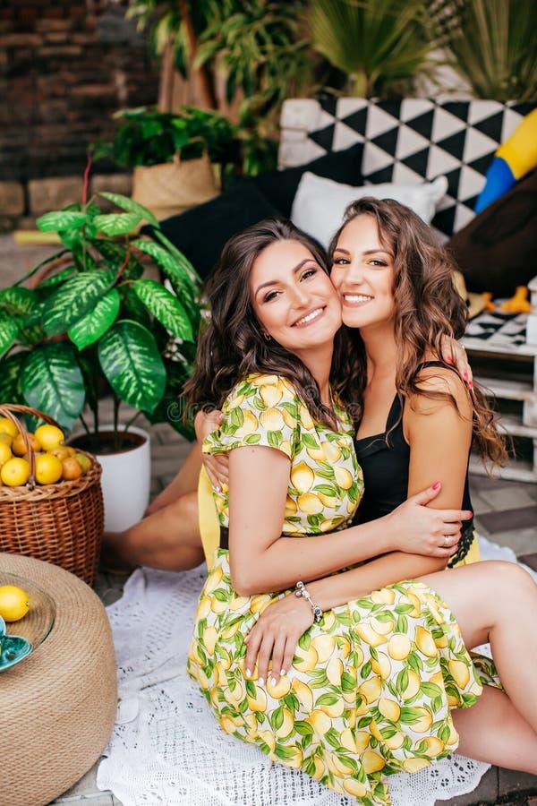 Mooi portret van twee gelukkige zusters i die heldere kleren met citroenen dragen royalty-vrije stock afbeelding