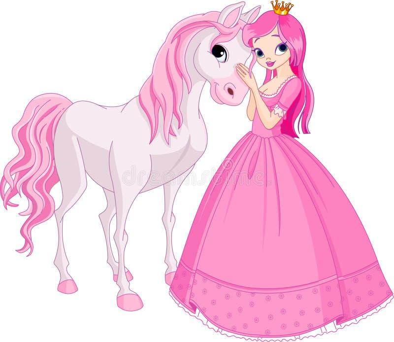 Mooi prinses en paard stock illustratie