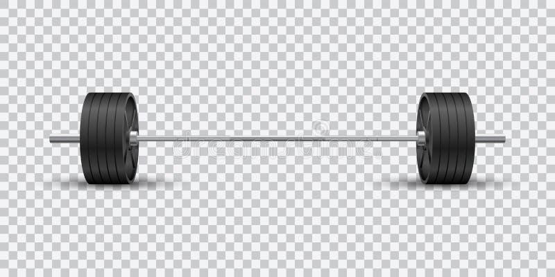 Mooi realistisch geschiktheids vector vooraanzicht van een olympische barbell met zwarte ijzerplaten op transparante achtergrond royalty-vrije illustratie