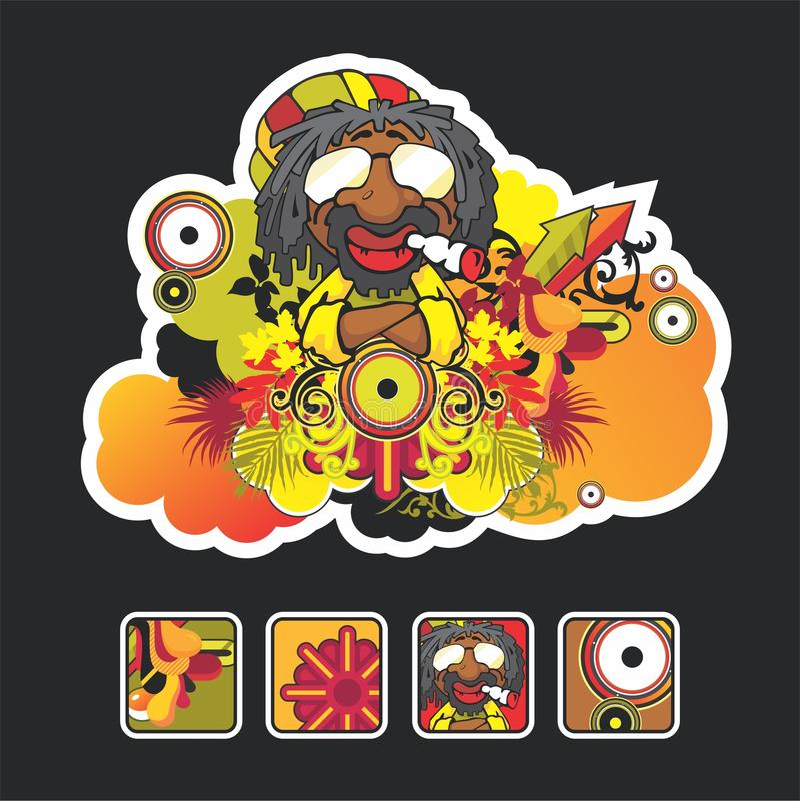 Mooi reggaelied en pictogram stock illustratie