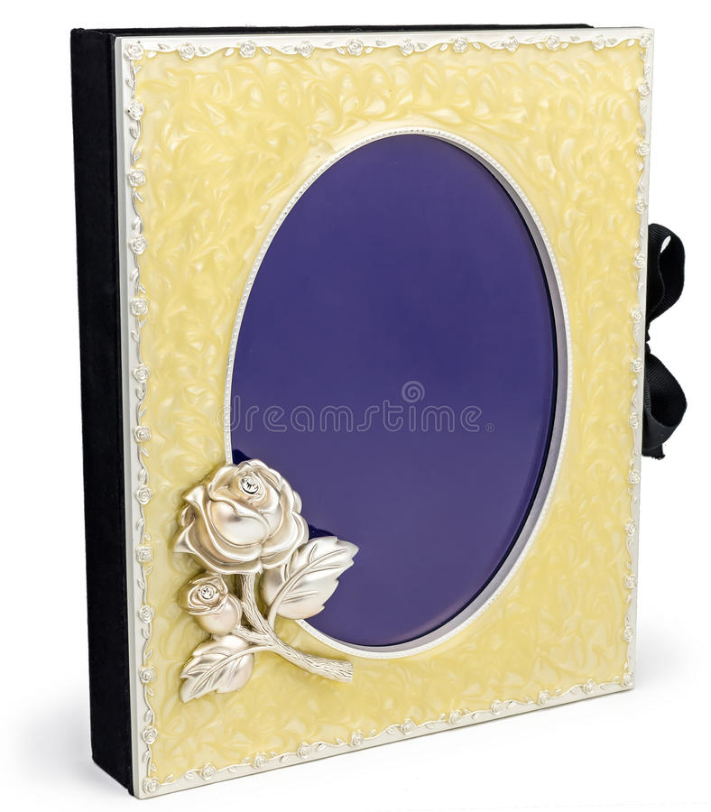 Mooi rijk fotoalbum met kader op witte backround stock afbeelding