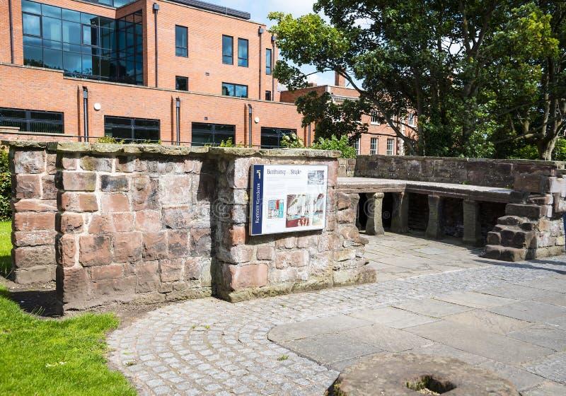 Mooi Roman Garden in Chester de stad van de provincie van Cheshire in Engeland stock foto