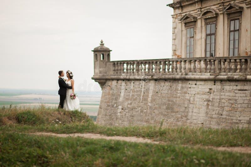 Mooi romantisch huwelijkspaar van jonggehuwden die dichtbij oud kasteel koesteren royalty-vrije stock afbeelding