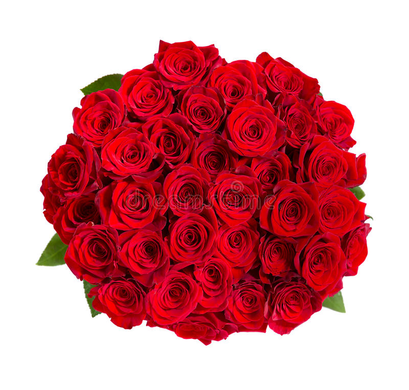 Mooi rood rozenboeket dat op wit wordt geïsoleerd royalty-vrije stock fotografie