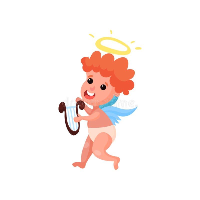 Mooi roodharige weinig speelmuziek van de engelenjongen op de vectorillustratie van het lierbeeldverhaal stock illustratie