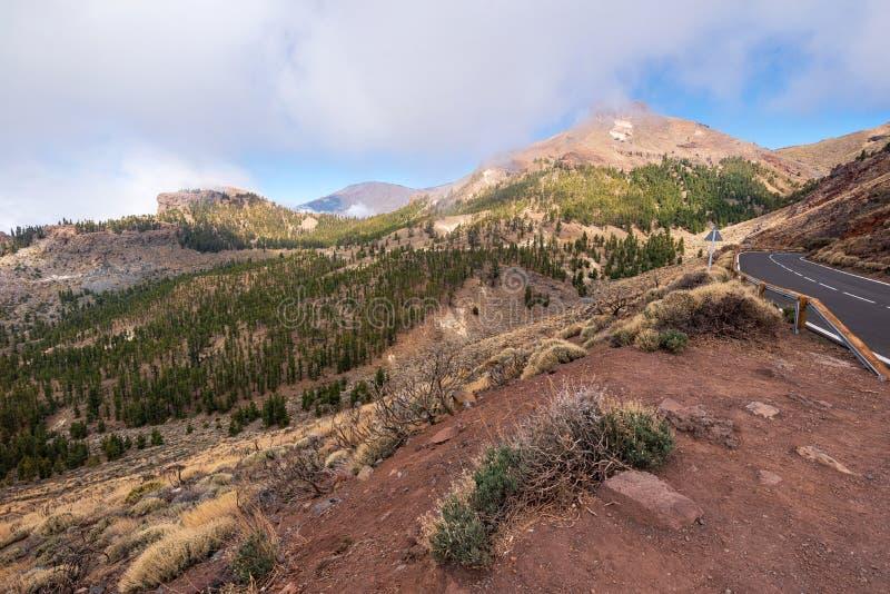 Mooi rotsachtig vulkanisch landschap in het nationale park van Teide in Tenerife, Canarische Eilanden stock fotografie