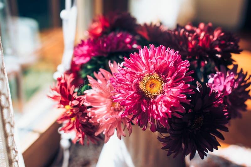 Mooi roze boeket van asters door het venster Lichte huisdecoratie met bloemenasters De ruimte van het exemplaar royalty-vrije stock fotografie