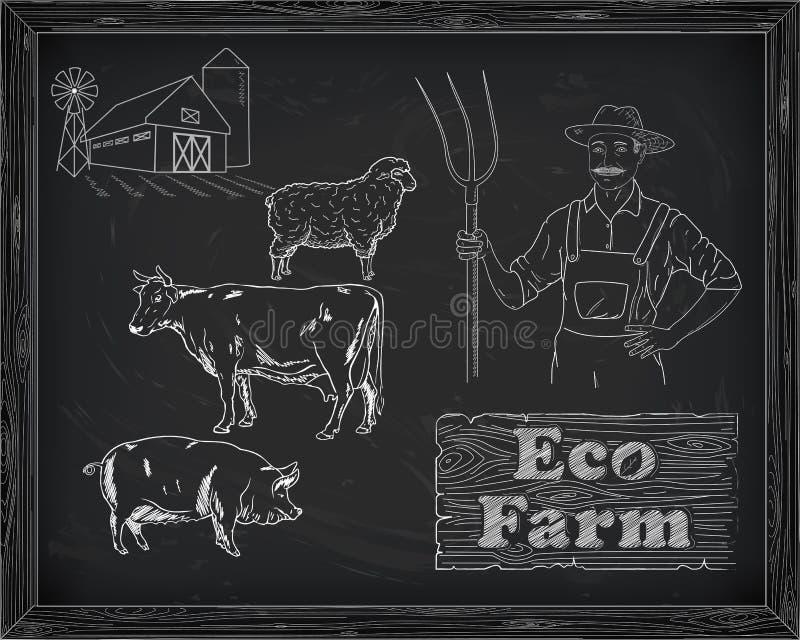Mooi rundvleesdiagram, varkensvlees, lam en landbouwer stock illustratie
