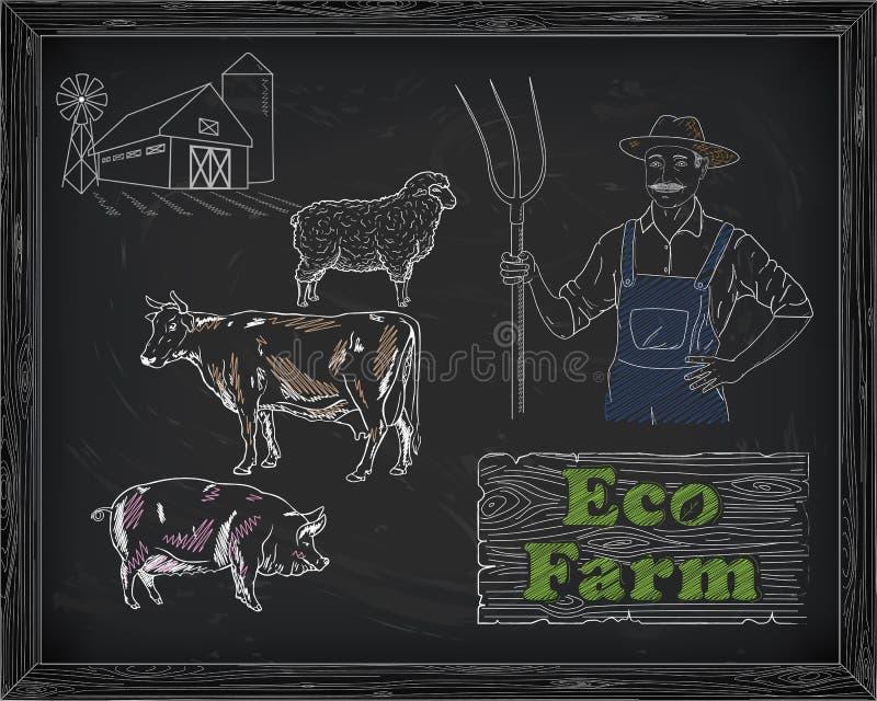 Mooi rundvleesdiagram, varkensvlees, lam en landbouwer royalty-vrije illustratie